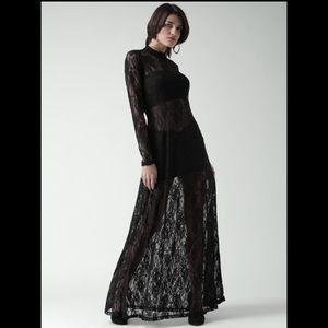 F21 Black Lace Sheer Maxi Dress